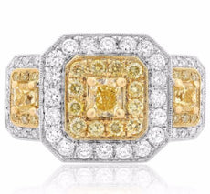 ESTATE 2.44CT WHITE & FANCY YELLOW DIAMOND 18KT 2 TONE GOLD HALO ENGAGEMENT RING
