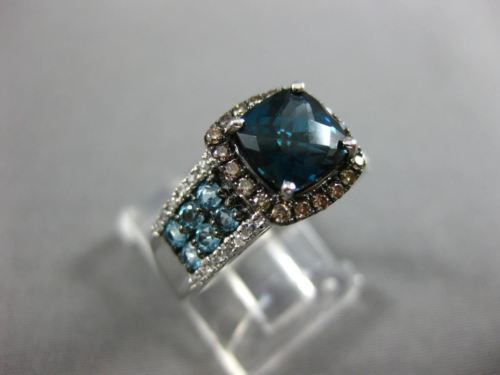 2.69CT WHITE & CHOCOLATE FANCY DIAMOND & AAA BLUE TOPAZ 14K WHITE GOLD HALO RING