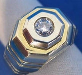 WIDE ESTATE DIAMOND 14KT WHITE YELLOW 2 TONE GOLD STRIPED MENS RING F VVS #1329