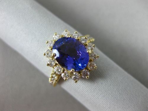 LARGE 2.88CT DIAMOND & AAA TANZANITE 14K YELLOW GOLD HALO FLOWER ENGAGEMENT RING
