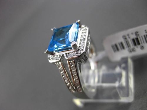 ESTATE WIDE 3.5CTW DIAMOND & AAA EXTRA FACET BLUE TOPAZ 14K WHITE GOLD HALO RING
