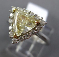 LARGE 1.83CT WHITE & FANCY YELLOW DIAMOND 14KT TWO TONE GOLD 3D ENGAGEMENT RING