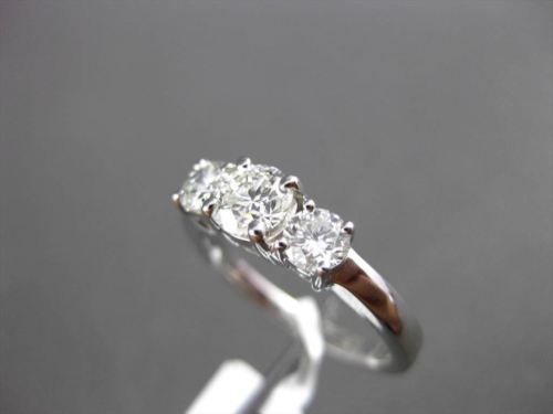 ESTATE 1.0CT DIAMOND 14KT WHITE GOLD 3 STONE ENGAGEMENT FRIENDSHIP PROMISE RING