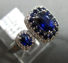 ESTATE 2.03CT DIAMOND & AAA SAPPHIRE 14KT WHITE GOLD SQUARE DOUBLE HALO FUN RING