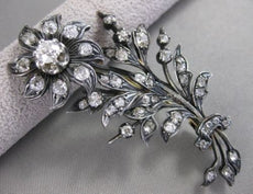 ANTIQUE 5CTW OLD MINE CUT DIAMOND 18K WHITE GOLD MOVING FLOWER PIN BROOCH #20614