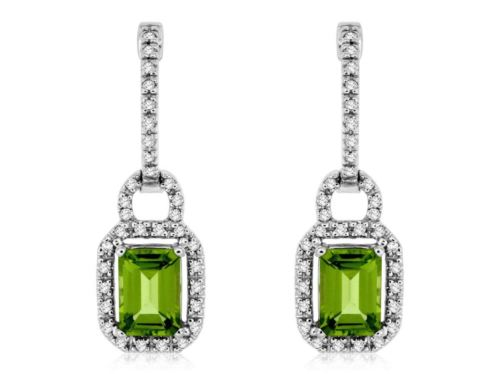 ESTATE 2.50CT DIAMOND & AAA PERIDOT 14KT WHITE GOLD SQUARE HALO HUGGIE EARRINGS