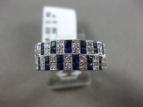 ESTATE WIDE 1.98CT DIAMOND & SAPPHIRE 14KT WHITE GOLD MILGRAIN ANNIVERSARY RING