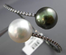 ESTATE LARGE 1.03CT DIAMOND AAA SOUTH SEA & TAHITIAN PEARL 18K BLACK GOLD BANGLE