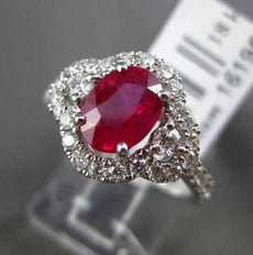 ESTATE 2.06CT DIAMOND & AAA RUBY 18K WHITE GOLD HALO THREE STONE ENGAGEMENT RING