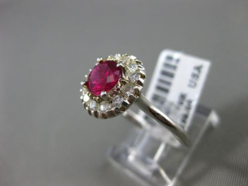 ESTATE 1.40CT DIAMOND & AAA RUBY 14KT WHITE GOLD 3D HALO CLASSIC ENGAGEMENT RING