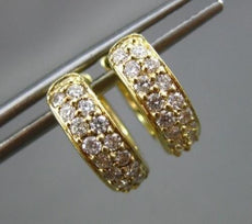 ESTATE .35CT ROUND DIAMOND 14KT YELLOW GOLD 2 ROW HUGGIE EARRINGS 15mm #18341