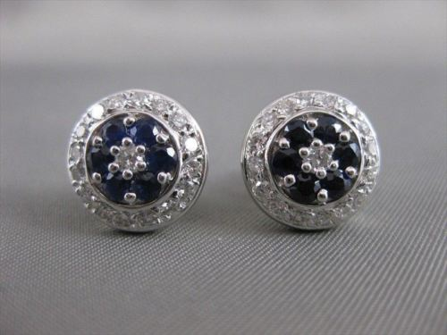 ANTIQUE 1.45CTW DIAMOND SAPPHIRE 18K WHITE GOLD ROUND FLOWER EARRINGS F/G #10817