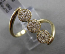 ANTIQUE WIDE .20CT DIAMOND 14KT YELLOW GOLD TRIPLE 3D CIRCULAR PAVE LOVE RING