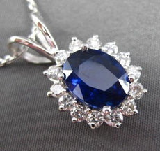ESTATE LARGE 3.09CT DIAMOND & AAA SAPPHIRE 14KT WHITE GOLD OVAL FLOATING PENDANT