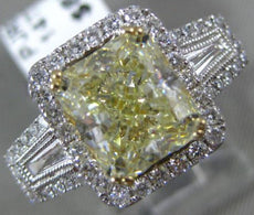 LARGE 3.8CT WHITE & FANCY YELLOW DIAMOND 14K WHITE GOLD FILIGREE ENGAGEMENT RING