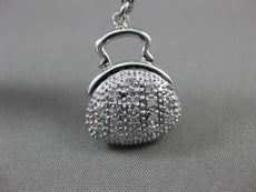 ANTIQUE LARGE DIAMOND 14KT WHITE GOLD 3D PURSE PENDANT / CHARM BRACELET #15724