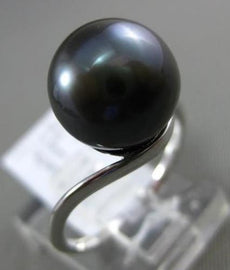 ESTATE 18KT WHITE GOLD AAA TAHITIAN PEARL 3D SOLITAIRE SWIRL RING 10.5mm WIDE