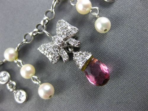 ESTATE 4.30CT DIAMOND & AAA PINK TOURMALINE 14K WHITE GOLD PEARL NECKLACE #25647