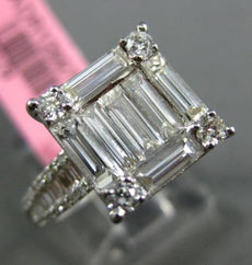 LARGE 1.40CT ROUND & BAGUETTE DIAMOND 18KT WHITE GOLD 3D SQUARE ENGAGEMENT RING