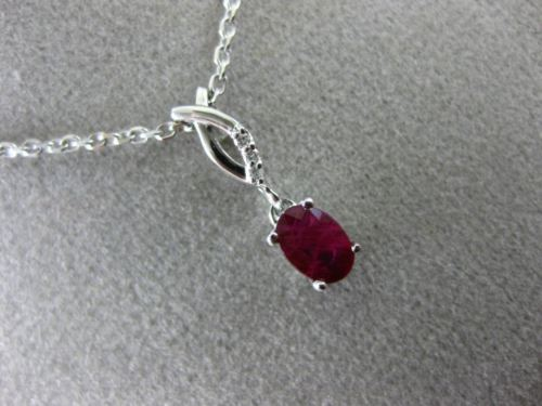 .63CT DIAMOND & AAA RUBY 14K WHITE GOLD BREAST CANCER AWARENESS FLOATING PENDANT