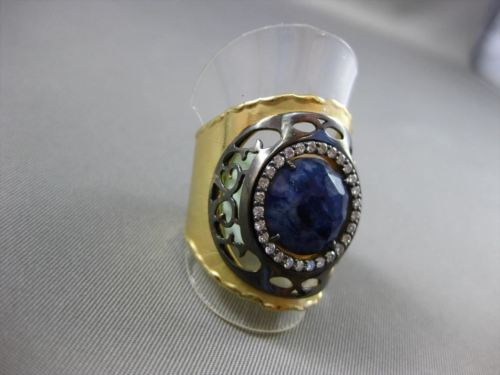 ANTIQUE 3.02CT DIAMOND & AAA SAPPHIRE 18KT YELLOW GOLD 3D FILIGREE ITALIAN RING