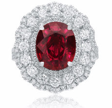 GIA LARGE 5.53CT DIAMOND & AAA RUBY 18KT WHITE GOLD 3D OVAL FLOWER COCKTAIL RING