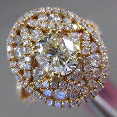 GIA LARGE 1.86CT WHITE & YELLOW DIAMOND 18K ROSE GOLD FILIGREE ENGAGEMENT RING
