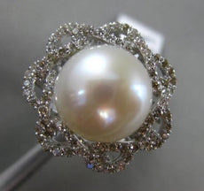 ESTATE LARGE .72CT ROUND DIAMOND 18KT WHITE GOLD 3D SOUTH SEA PEARL FLOWER RING