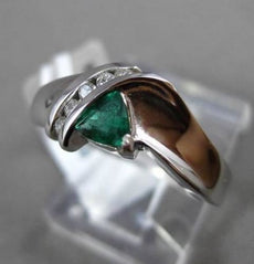 ESTATE .43CTW DIAMOND & AAA EMERALD 14KT WHITE GOLD TRILLION FUN FRINDSHIP RING