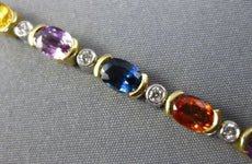 ESTATE LONG 13.19CT DIAMOND & AAA MULTI COLOR SAPPHIRE 18KT2 TONE GOLD BRACELET