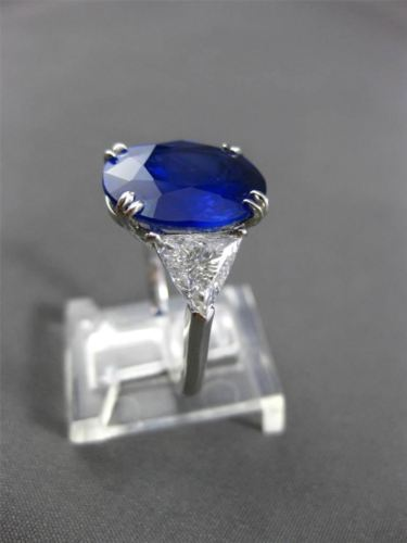 ANTIQUE PLATINUM 8.27CT DIAMOND & AAA SAPPHIRE 3 STONE OVAL ENGAGEMENT RING E/F