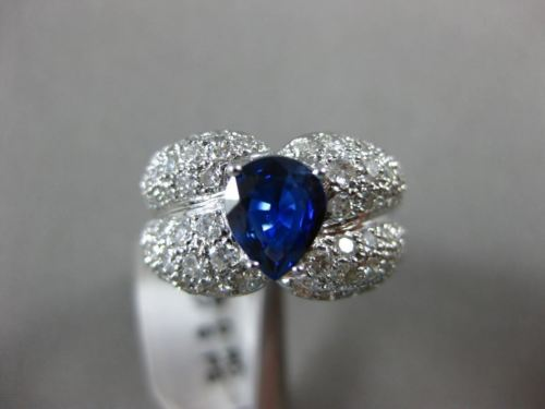 ESTATE WIDE 2.33CT DIAMOND & PEAR SHAPE SAPPHIRE 18KT WHITE GOLD ENGAGEMENT RING