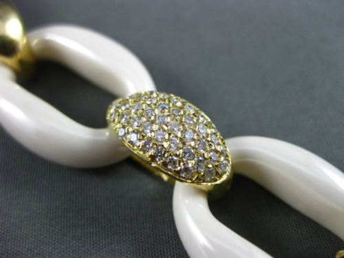 ESTATE WIDE LONG 22.35CT DIAMOND WHITE AGATE 18KT YELLOW GOLD OVAL LINK BRACELET