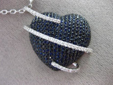 LARGE 3.85CT DIAMOND & AAA SAPPHIRE 18K WHITE & BLACK GOLD 3D HEART LOVE PENDANT
