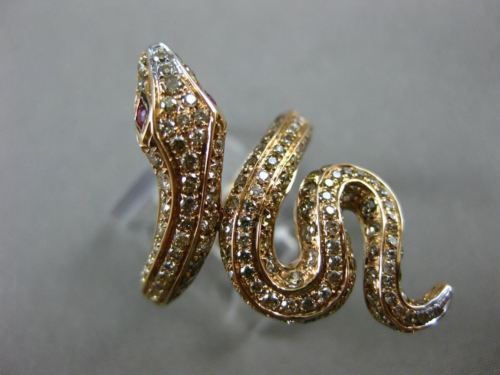 LARGE 1.66CT WHITE & FANCY COLOR DIAMOND & AAA RUBY 18KT ROSE GOLD 3D SNAKE RING
