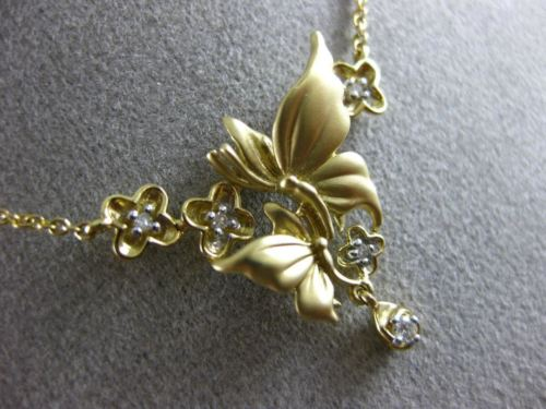 ESTATE .07CT DIAMOND 14KT YELLOW GOLD 3D MULTI FLOWER BUTTERFLY MATTE NECKLACE