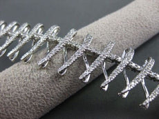 ESTATE WIDE 3.85CT DIAMOND 14K WHITE GOLD FLOATING X DESIGN BRACELET VERY UNIQUE