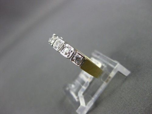 ANTIQUE .40CT DIAMOND 14KT WHITE & YELLOW GOLD SQUARE ANNIVERSARY RING #11473