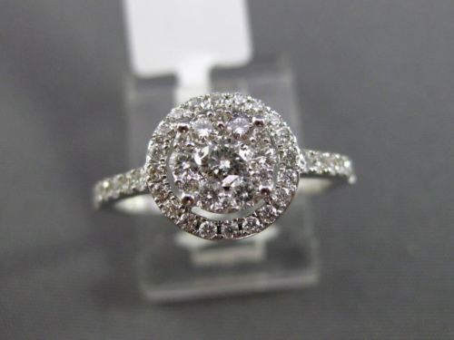 ESTATE WIDE .54CT DIAMOND 18KT WHITE GOLD 3D CLUSTER HALO ROUND ENGAGEMENT RING