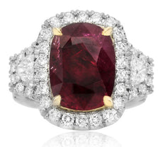 GIA CERTIFIED 9.58CT DIAMOND & AAA RUBY 18K YELLOW GOLD PLATINUM ENGAGEMENT RING