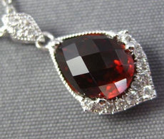 1.74CT DIAMOND & AAA GARNET 14K WHITE GOLD TEAR DROP FILIGREE MILGRAIN PENDANT