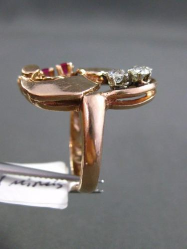 ANTIQUE .70CT OLD MINE DIAMOND & AAA RUBY 14K WHITE & ROSE GOLD 3D COCKTAIL RING