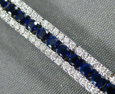ESTATE WIDE 5.57CT DIAMOND & AAA SAPPHIRE 18KT WHITE GOLD 3D TENNIS BRACELET