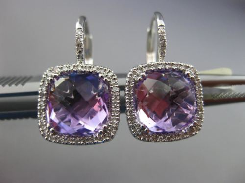 ESTATE 4.25CT DIAMOND & AAA AMETHYST 14K WHITE GOLD SQUARE HALO HANGING EARRINGS