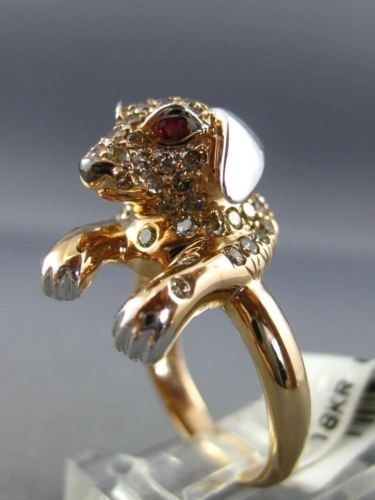 LARGE 1.88CT FANCY COLOR DIAMOND & AAA RUBY 18K WHITE & ROSE GOLD PUPPY FUN RING