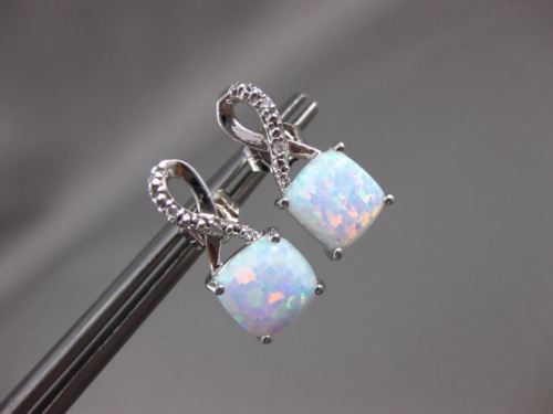 ESTATE 1.22CT DIAMOND & AAA OPAL 14K WHITE GOLD INFINITY SQUARE HANGING EARRINGS