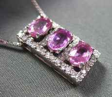 ANTIQUE 2.27CT DIAMOND & AAA PINK SAPPHIRE 14KT W GOLD PAST PRESENT FUTURE #1750
