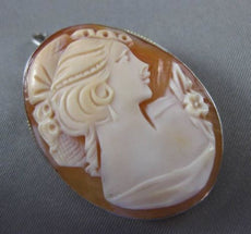 ANTIQUE LARGE 925 SILVER HANDCRAFTED CAMEO BROOCH / PENDANT ELEGANT LOOK! #24085