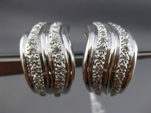 ESTATE LARGE .50CT ROUND DIAMOND 14KT WHITE GOLD 3D MULTI WAVE CLIP ON EARRINGS