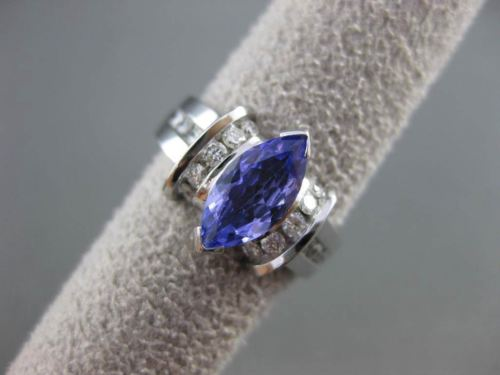 ESTATE 1.45CTW DIAMOND & AAA MARQUISE TANZANITE 14KT WHITE GOLD ENGAGEMENT RING